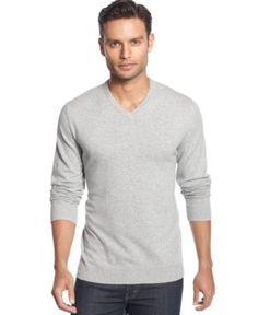 Alfani Men's V-Neck Sweater, Only at Macy's - Gray XXL