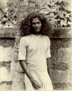 Young man in Sri Lanka, photographed in the 1880s