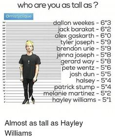 I'm anywhere between Pete  Wentz and Brendon Urie. I'm saying that because I forgot how tall I am.<<<IDK why Josh is by Tyler on the chart but okay