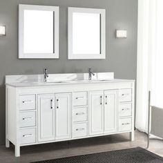 "Corniche 75"" White Double Sink Vanity By Solid hardwood construction   Blum BluMotion® soft-closing drawer glides   Soft-closing cabinet doors   Maintenance free solid surface engineered marble top   2 pre-mounted rectangular undermount porcelain sinks   Includes 2 pop-up drain assemblies   Includes matching backsplash   Backsplash: assembly required, ships in 3-pieces Adjustable feet eliminate wobble if floor is uneven   9 single drawers   Polished chrome hardware Drilled for mono-faucets"