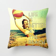 Gifts For Her  Beach Pillow Cover   Throw Pillow  by VintageBeach, $38.00