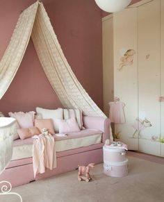 Bedroom idea. So cute for my little girl's room. Just worried that kitten would try and climb the curtain.