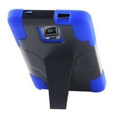 FOR SAMSUNG NOTE 4, BLUE HYBRID UNBRANDED RIGID PLASTIC CASE W/KICKSTAND #UNBRANDED