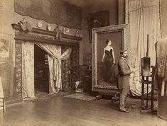 John Singer Sargent in his studio with Portrait of Madame X, ca. 1885, Archives of American Art, Smithsonian.