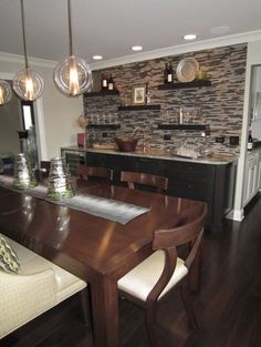 Tile wall and buffet for dining room