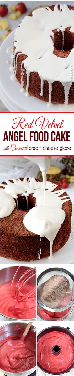 Perfect for Valentines! EASY light airy Red Velvet Angel Food Cake with the most INCREDIBLE Coconut Cream Cheese Glaze. This cake looks fancy (perfect for company or special occasions) but takes less than 20 minutes to make!