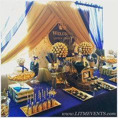 #royalbabyshower #royalcandybuffet #royaltreats #candybuffet #sweetstable #candytable #royalprince #royalprincebabyshower #royalblueandgold #customtreats #evetplanner #partyplanner #Leaveit2Me #cakepops #chocolatecoveredpretzels #ricekrispietreats by @gns_occasionss #chocolatecoveredoreos by Aim High Cakes