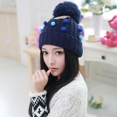 Lovely beanie hats for girls Hairball knit hats