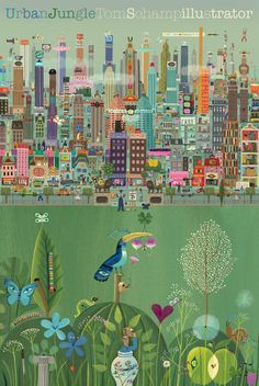 Urban-Jungle.  Tom Schamp, Flemish illustrator.