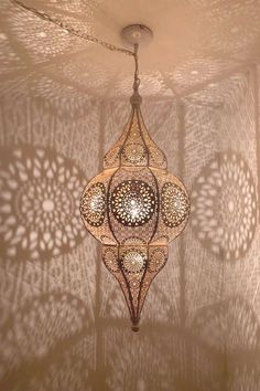 Moroccan Lantern - Boho Decor - Moroccan Decor - Pendant Light - Moroccan Ceiling Light - This striking Moroccan lantern is created in iron with white finish on the outside and gold on the - Moroccan Ceiling Light, Morrocan Decor, Moroccan Lighting, Moroccan Lamp, Moroccan Bedroom, Moroccan Interiors, Moroccan Tiles, Boho Lighting, Modern Moroccan Decor