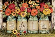 It's fall. This is nature's last great riot of color. It is a time to clip flowers from your yard and bring them inside to enjoy before they succumb to the first frost. Share your cuttings with your visitors as they step up to your doorway with this Fall Mason Jars decorative door mat.
