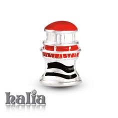 Light House: Always find your way with a lighthouse in red and black enamel on sterling silver: designed exclusively by Halia, this bead fits other popular bead-style charm bracelets as well. Sterling silver, hypo-allergenic and nickel free.        $42.00