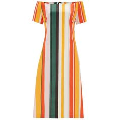 Finery London Loxham Stripe off Shoulder Cotton Sundress (850 ARS) ❤ liked on Polyvore featuring dresses, multi, striped off the shoulder dress, sundress dresses, short-sleeve dresses, off the shoulder dress and short sleeve sundress