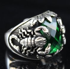 Scorpion Solid 925 Sterling Silver Turkish Handmade Ottoman Emerald Men's Ring #Handmade #Statement