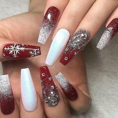 60 Simple Acrylic Coffin Nails Designs Ideas for 2019 - Winter Nails Acrylic - Chistmas Nails, Cute Christmas Nails, Christmas Nail Art Designs, Xmas Nails, Holiday Nails, Christmas Time, Christmas Acrylic Nails, Elegant Christmas, Beautiful Christmas