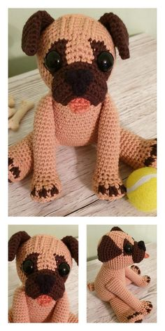 Amigurumi Pepe the Pug Free Pattern - Kostenlose Amigurumi-Muster Crochet Dog Patterns, Crochet Geek, Amigurumi Patterns, Crochet Dolls, Free Crochet, Amigurumi Doll, Crochet Animals, Stuffed Toys Patterns, Pugs