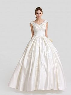 Ivory V Neck Satin Ball Gown with Sequined Applique and Bowknot - USD $168.86