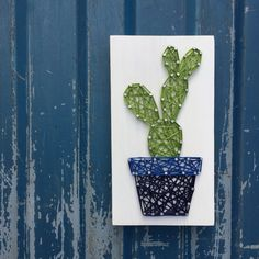 MADE TO ORDER String Art Mini Cactus Sign Style 2 Deco Cactus, Cactus Flower, Mother Daughter Crafts, Hobbies And Crafts, Diy And Crafts, Rectangle Garden Design, Cactus Craft, Nail String Art, String Art Patterns