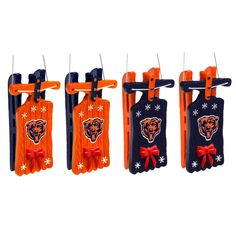 Chicago Bears Sleigh Hanging Christmas Ornaments - Set Of 4