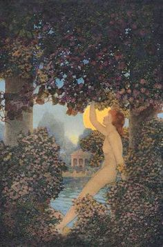 """by Maxfield Parrish, illustrating lines from Wordsworth: """"...than Naiad by the side / Of Grecian brook, or Lady of the Mere / Sole-sitting by the shores of old romance"""" from Scribner's magazine, August 1907"""