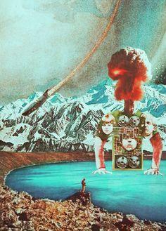 Retroscope.  Surreal Mixed Media Collage Art By Ayham Jabr.