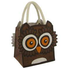 4951f9bde337 This Mini Owl Jute Bag is ideal as a lunch bag a small shopping bag or even  as a re-usable party bag for children It has soft cotton handles to