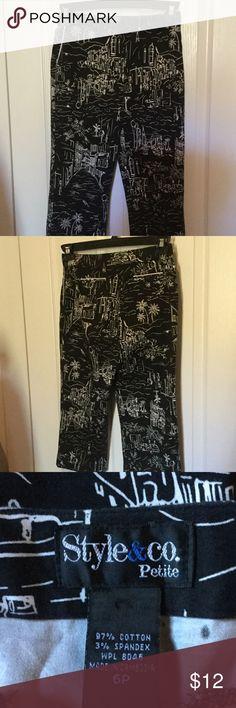 Petite capris Black and white city scape print. Stretch. Button/zip closure. Style & Co Pants Capris