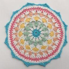 The Naissance Mandala. Free crochet mandala pattern from Cotton Pod. Mini Mandala, Motif Mandala Crochet, Crochet Mandala Pattern, Crochet Doily Patterns, Crochet Diagram, Crochet Doilies, Crochet Stitches, Knitting Patterns, Crochet Round
