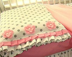 Toddler Bedding Pillow Case/Sham Pink and Grey by IronAndThread, $18.50