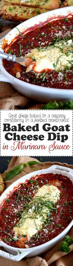Baked Goat Cheese in Marinara Sauce - Warm and creamy, a great dipping option for hosting friends at home. Baked Goat Cheese Dip in Marinara Sauce is sure to be a winner; make a double batch!