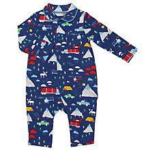 Buy John Lewis Baby Woodland Romper, Blue Online at johnlewis.com