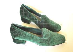 80s Velvet Slipper Heels/ Hunter Green Quilted by miskabelle, $27.00