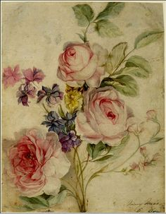 Beautiful Mary Moser watercolor  of roses and marigolds. I want this as a tattoo on my arm or thigh. So beautiful.