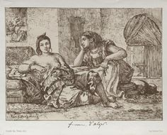 Cleveland Museum of Art Women of Algiers, 1833 Eugène Delacroix (French, 1798-1863) lithograph printed in brown on a beige tint stone, Sheet - h:19.80 w:27.80 cm (h:7 3/4 w:10 15/16 inches) Image - h:16.00 w:22.10 cm (h:6 1/4 w:8 11/16 inches). Mr. and Mrs. Charles G. Prasse Collection 1961.143