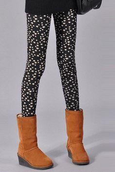 Chic Tiny Star Print Fleece Bodycon Leggings For Women