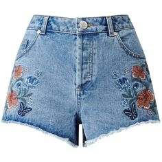 Miss Selfridge Floral Embroidered Denim Short (590 MXN) ❤ liked on Polyvore featuring shorts, bottoms, blue, short, mid wash denim, short jean shorts, jean shorts, blue shorts, denim shorts and blue jean shorts