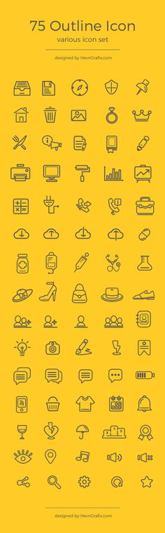 75 Various Outline Icon Set