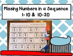 Missing Numbers in a Sequence; Common Core Aligned 1-10 and 10-20 This set includes four worksheets that require students to find the missing number in a sequence of numbers. Students cut out the tooth with the missing number and glue it into the correct place. Great for morning work, math centers, assessment, or homework. Click the picture to see this and many other resources in our Teacherspayteachers store!