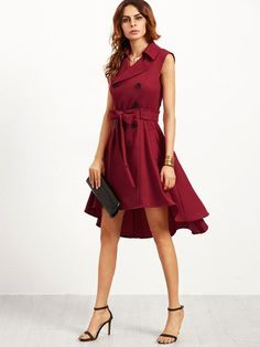f07fbd2fbe770 Online shopping for Burgundy Double Breasted Belted Sleeveless Trench Dress  from a great selection of women s fashion clothing   more at MakeMeChic.