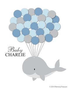 Baby Shower Guest Book Alternative Whale Baby Shower Whale Guest Book Poster Guest Sign In Personalized Guest Book Customized Guest Book - Empfang Fiesta Baby Shower, Baby Shower Fun, Fun Baby, Whale Birthday Parties, Birthday Balloons, Birthday Book, Third Birthday, Whale Party, Bebe Shower