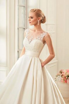 Satin Train Sweetheart Wedding Dress