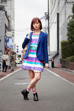 Shibuya, TOKYO. Bomi. Dress and boots from Bubbles, jacket from Zara, bag from Chloe, Yuri Aoki necklace.