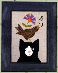 Wool Embroidery Applique Stitchery Pattern \Song for Tuxedo by Bonnie Sullivan All Through the Night Cat Quilt Patterns, Wool Applique Patterns, Applique Quilts, Applique Ideas, Bird Applique, Felted Wool Crafts, Wool Quilts, Wool Art, Primitive Folk Art