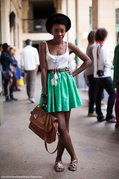 amazing look  green skirt