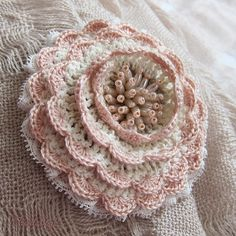 "1 of 2 Brooch handmade. Brooch ""Waltz of the Flowers"". Workshop Marie. Handmade. Fair Masters. Description, Delicate small brooch made ​​in romantic vintage style. Basic colors: ivory , pripylenny pink , ecru. Cotton yarn , superfine cotton lace, beads. Robust metal clasp. Dimensions Diameter 7 cm. • Postal Service. Shipping (Worldwide)"