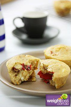 Sundried Tomato & Fetta Muffins. #HealthyRecipes #DietRecipes #WeightLossRecipes weightloss.com.au