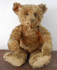 """Antique 20"""" Mohair Teddy Bear early 1900's  Steiff - great center seam bear"""
