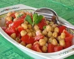 Salade marocaine de pois chiches et tomates       80 g de oignons rouges     30 ml de huile d'olive extra vierge     1 citron de citron pressé en jus     1 g de piment de Cayenne     1 g de cumin en poudre     sel     poivre     750 ml de pois chiches (en conserve)     280 g de tomates italiennes     8 g de menthe fraîche