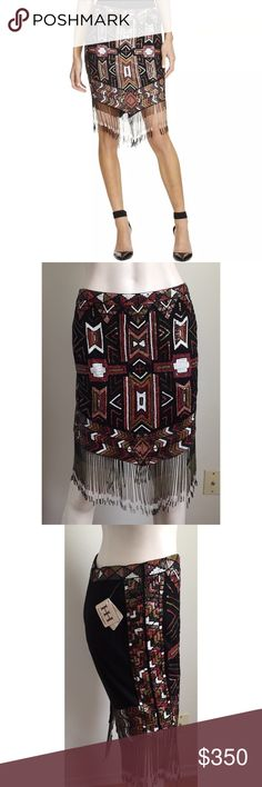 NWT Haute Hippie Embellished Beaded Skirt Gorgeous multi colored Embellished beaded skirt by Haute Hippie. Beaded fringe at the hem of the skirt. Skirt is brand new but missing the brand and size label inside. Has the fabric content label with the Haute Hippie RN #. A couple of missing beads but comes with a bead packet. Msrp $795 Haute Hippie Skirts