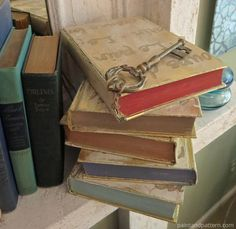 Accessorizing with antique keys for Stenciled and Gilded book cover DIY | Paint + Pattern
